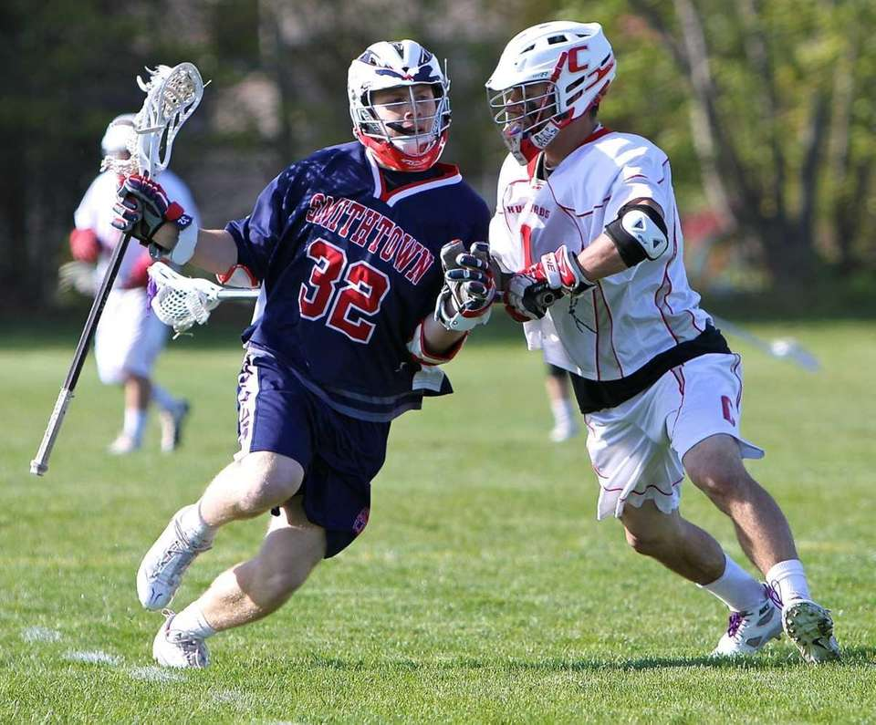 Smithtown West attack James Pannell #32 moves into