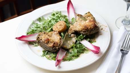 An artichoke stuffed with well-seasoned breadcrumbs and Gorgonzola