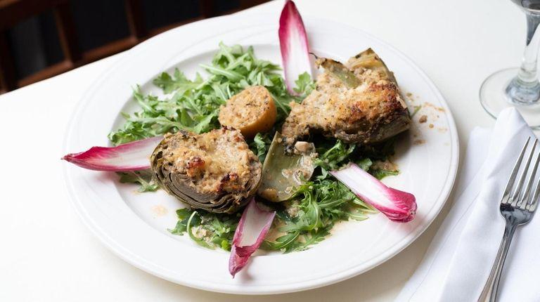 An artichoke stuffed with well-seasoned breadcrumbs and Gorgonzola