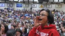 Ruth Smith, a Freeport teacher, joined thousands at