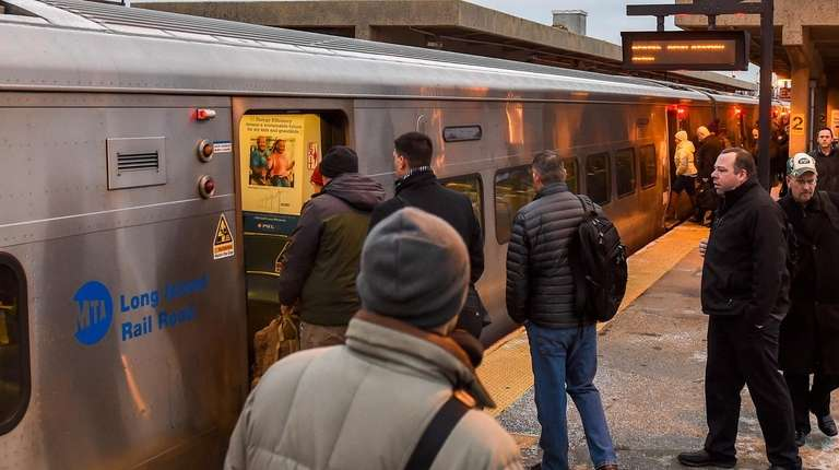 LIRR commuters at the Babylon train station on