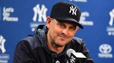 Yankees manager Aaron Boone speaks to the media