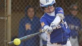 Alexandra Kelly #33, East Meadow pitcher, strokes a