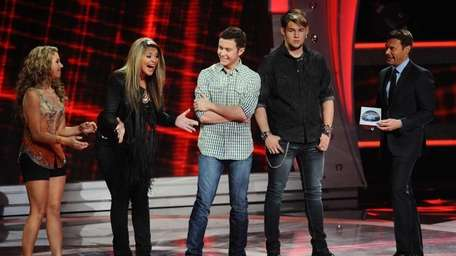 Lauren Alaina, second from left, advances to the