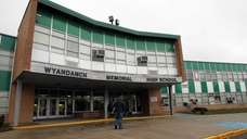 The front exterior of Wyandanch Memorial High School,