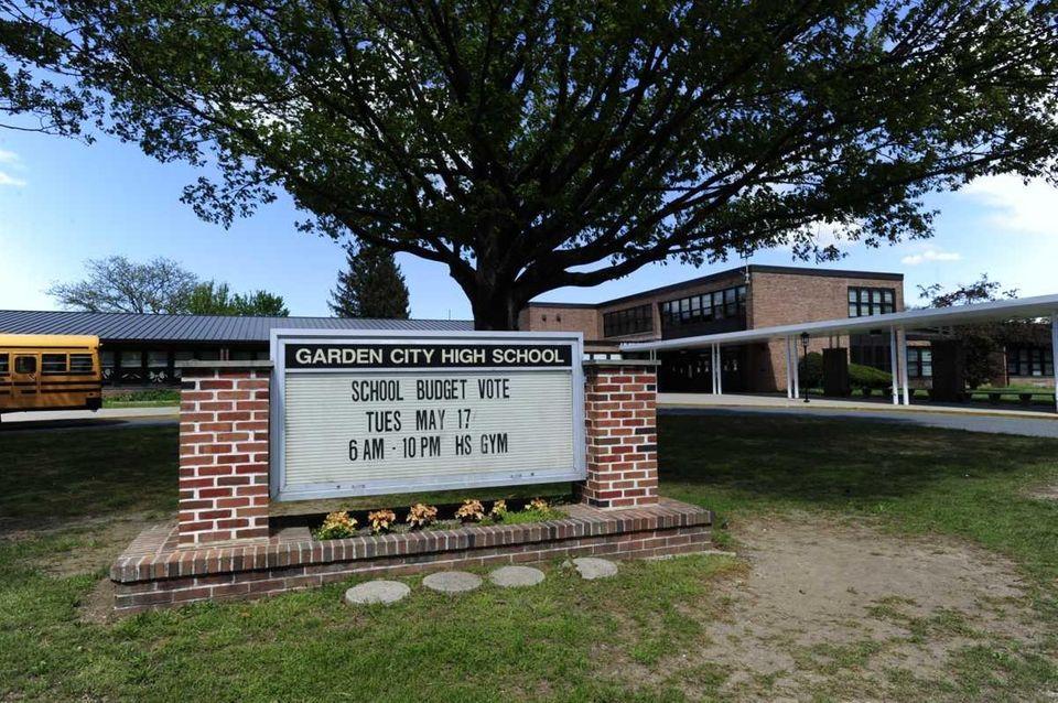 A sign at Garden City High School advertises