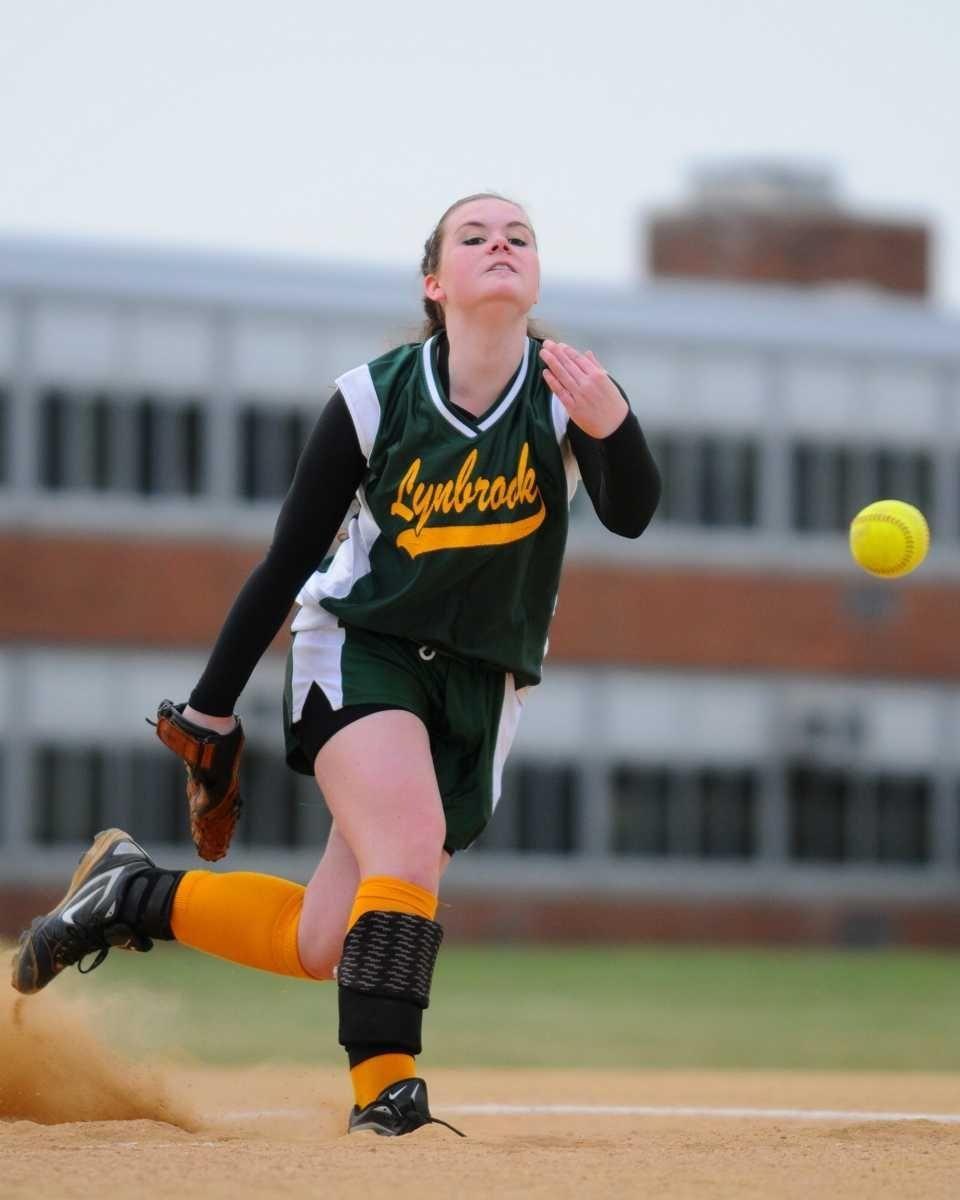 Lynbrook High School pitcher #3 Bridget Greene delivers