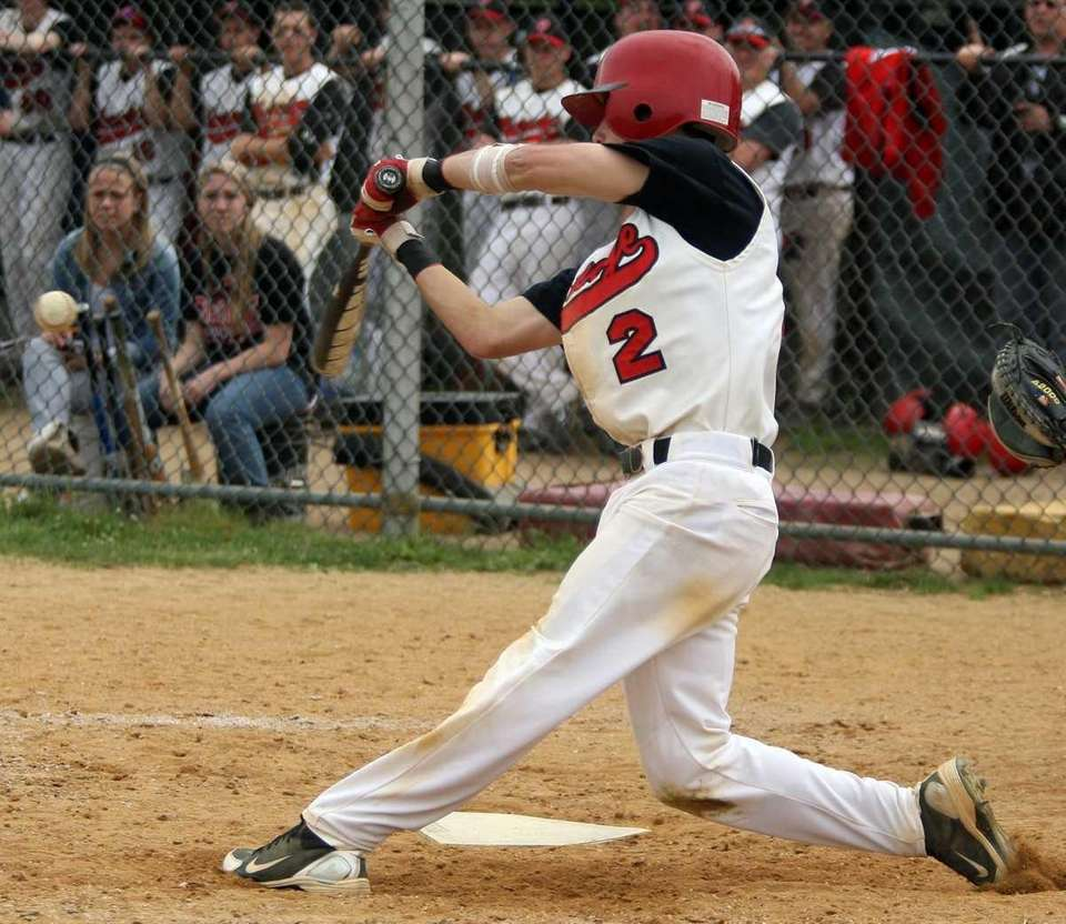 Plainedge's Ralph Caccavale (2) hits a two-run double