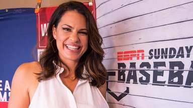 Jessica Mendoza in the booth during a Sunday