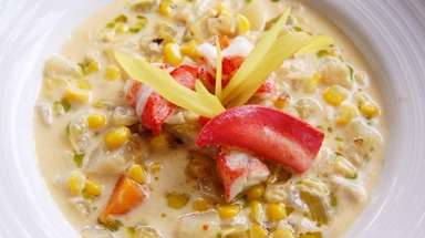 Lobster and corn chowder is served at The