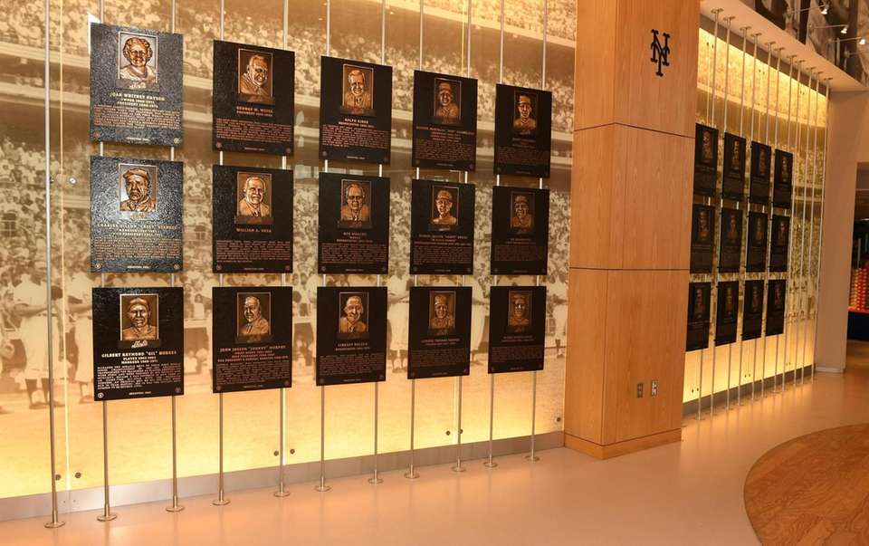 Past New York Mets player plaques are displayed