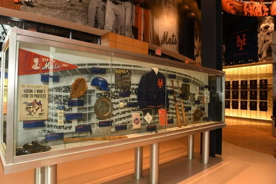A display case at the New York Mets