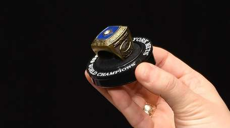 A replica 1969 New York Mets World Series