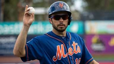Mets catcher Travis d'Arnaud during a split-squad scrimmage