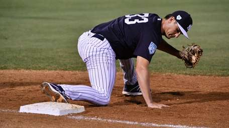 Yankees first baseman Greg Bird makes the out