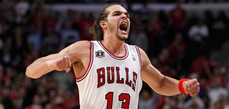 Joakim Noah #13 of the Chicago Bulls reacts
