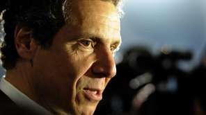 Governor Andrew Cuomo answers questions from the media