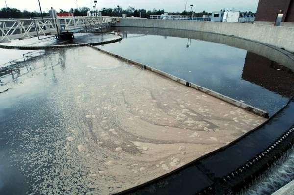 Waste water in the final clarifier tanks at