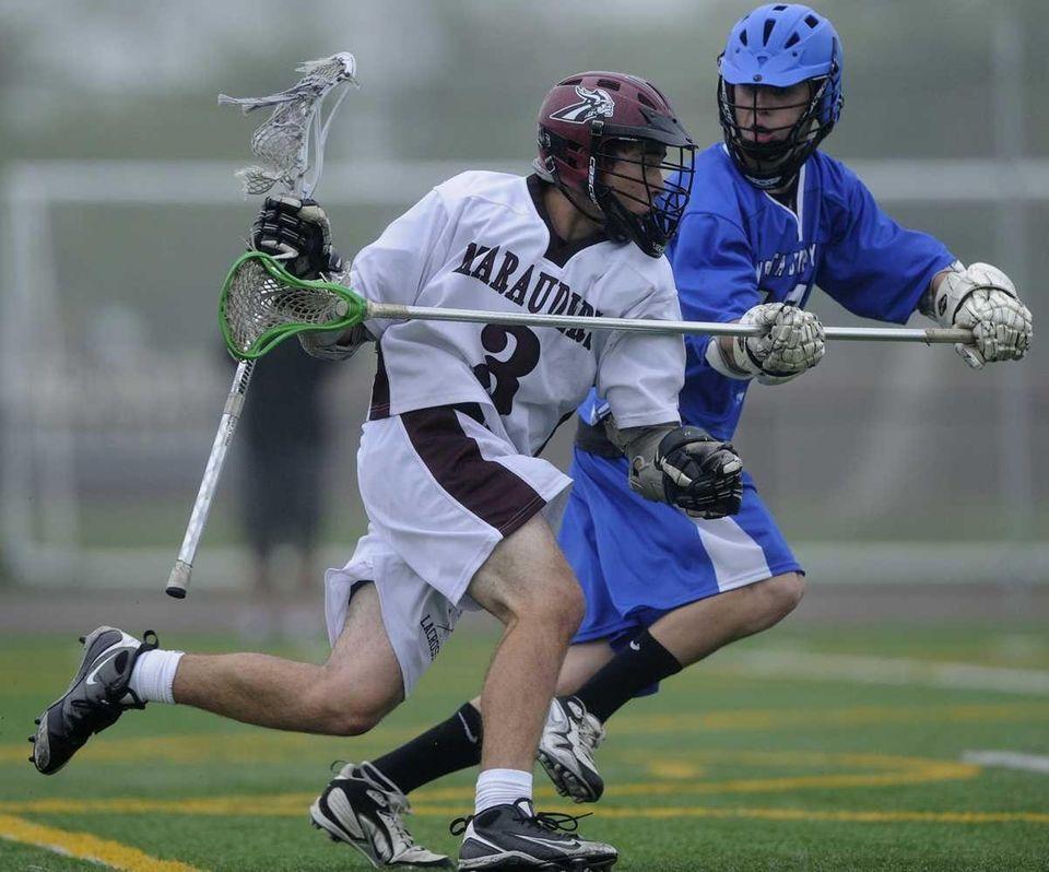 Bay Shore attacker Max Sheets protects the ball