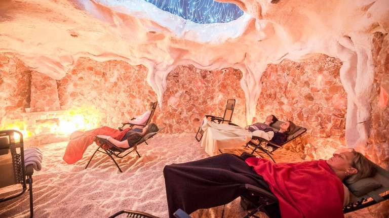 Customers relax at the Montauk Salt Cave.