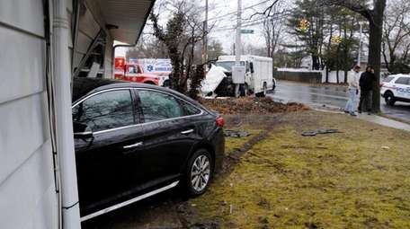 A car involved in a crash slammed into