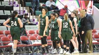 Holy Trinity players react to a 62-37 loss