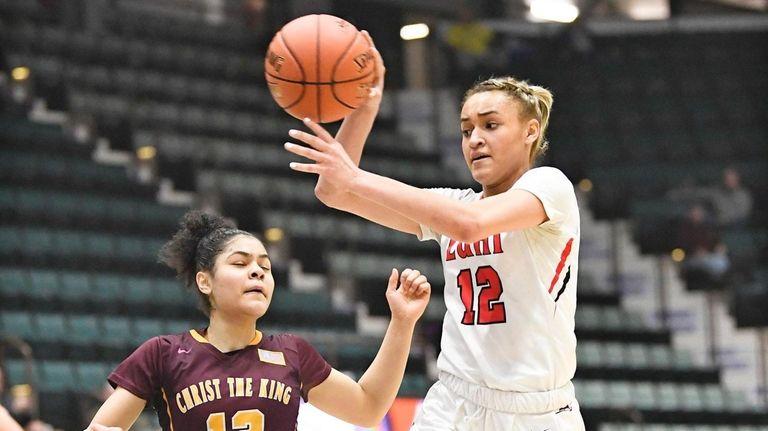 Lutheran's Celeste Taylor passes the ball against Christ