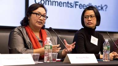 Irma Solis, left, director of the Suffolk County