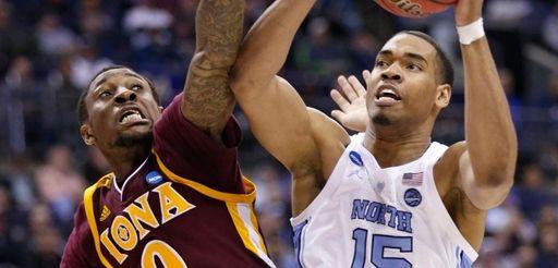 North Carolina's Garrison Brooks drives to the basket
