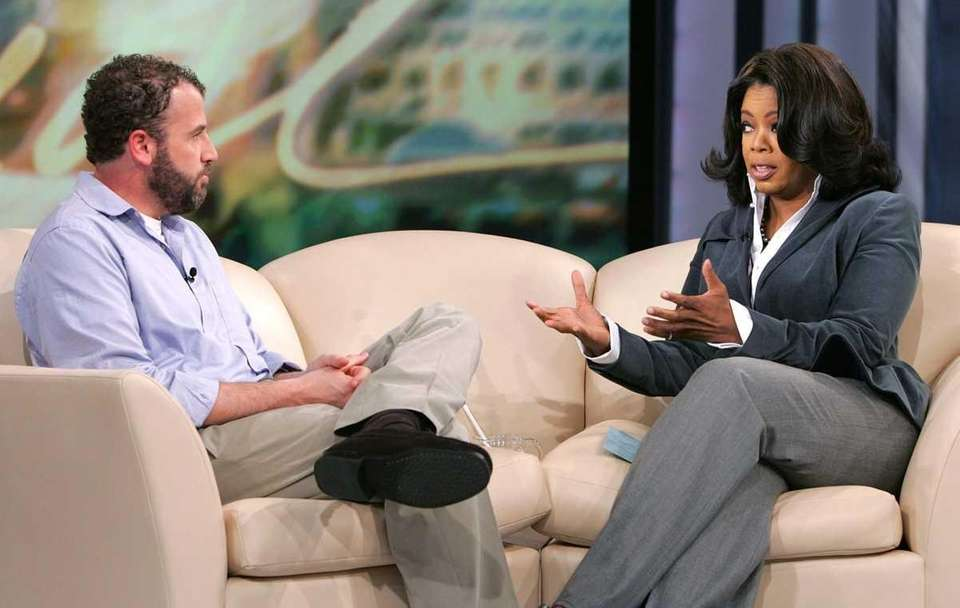 Oprah Winfrey during her live television interview with