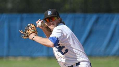 Suffolk Community College baseball player Kyle Weeks sets