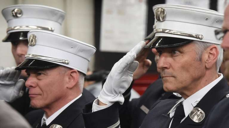 At a ceremony at his firehouse in Harlem