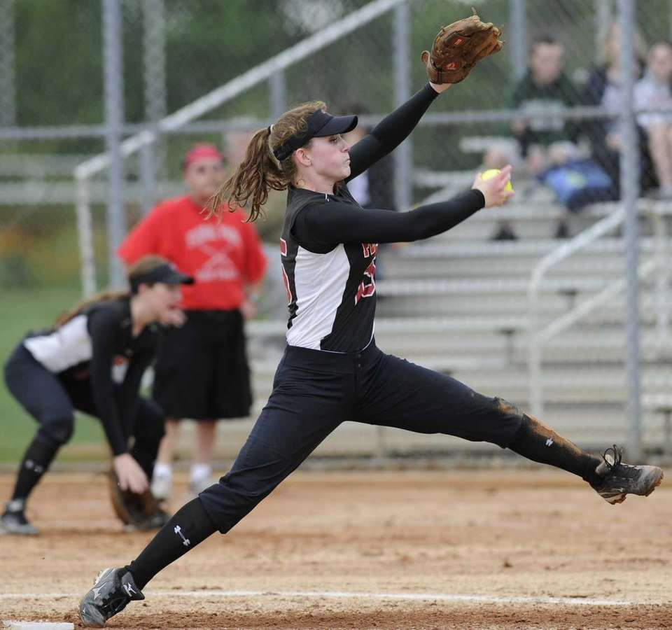 Plainedge pitcher Michele Daubman delivers to the plate