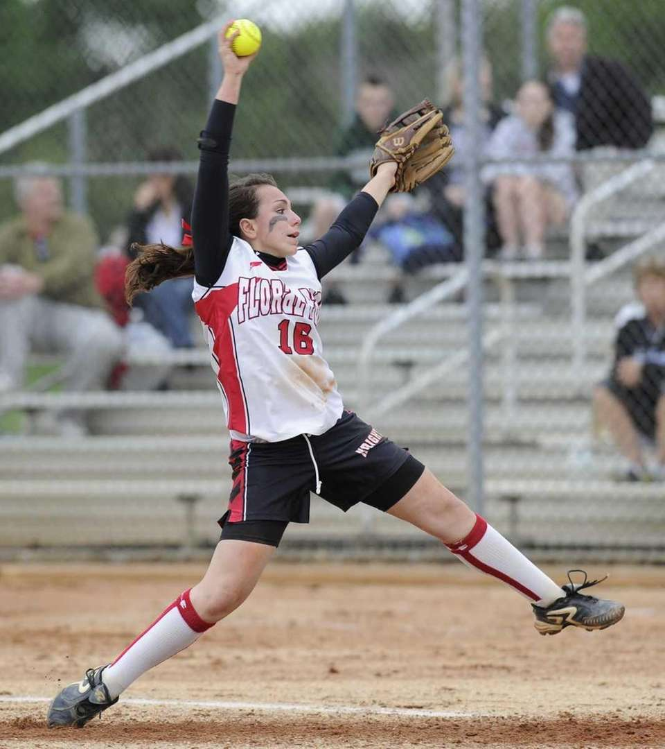 Floral Park pitcher Sam Giovanniello delivers to the