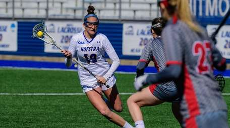 Hofstra's Alyssa Parrella goes to the goal against