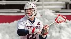 Stony Brook's leading scorer, Tom Haun, at Stony