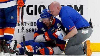 Johnny Boychuk of the New York Islanders reacts