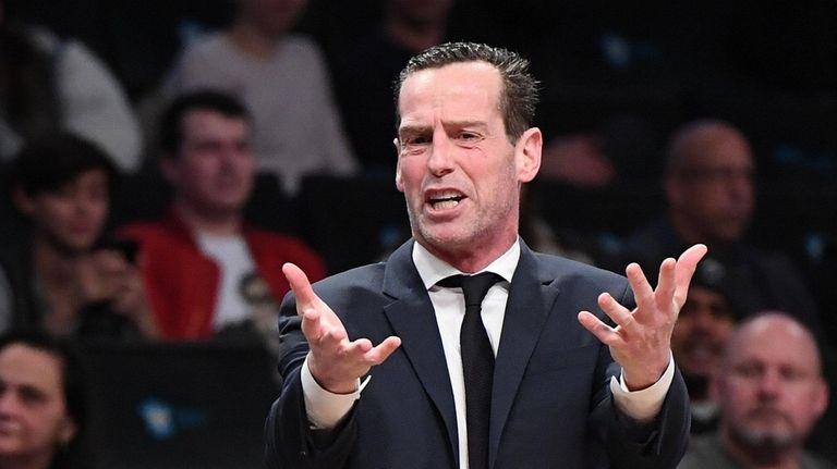 Nets head coach Kenny Atkinson reacts to a