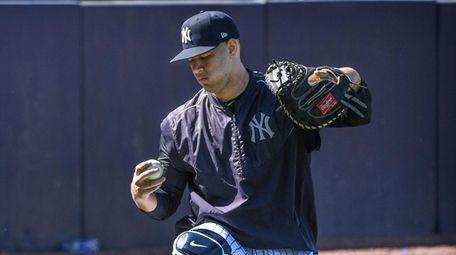 Yankees Catcher Gary Sanchez catches Luis Severino (Not