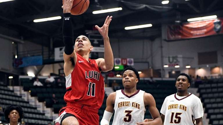 Long Island Lutheran's Andre Curbelo (11) scores against