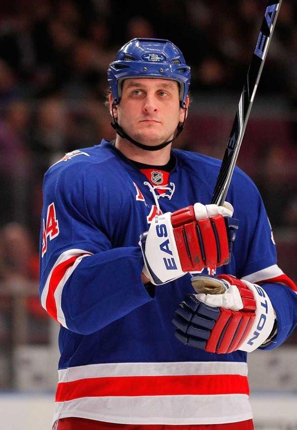 Derek Boogaard (94) of the New York Rangers