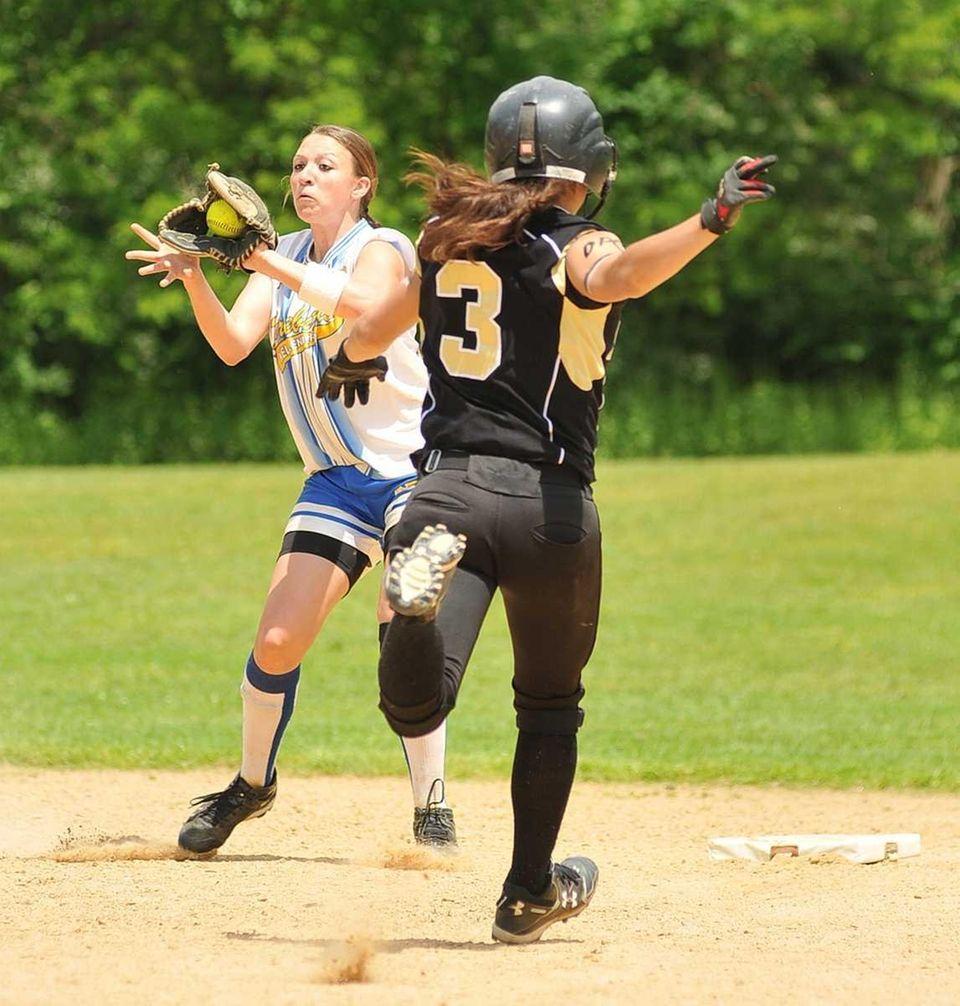 Kellenberg's infielder Amanda Crimarco (19, left), catches the
