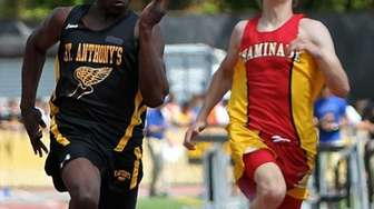 St. Anthony's James Adegbite wins the boys 100