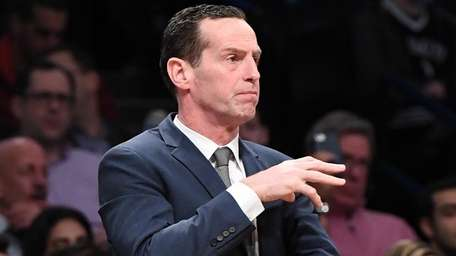 Brooklyn Nets head coach Kenny Atkinson gestures during