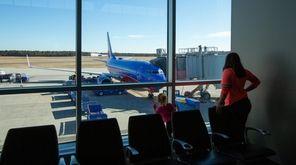 A Southwest plane prepares for departure at Long