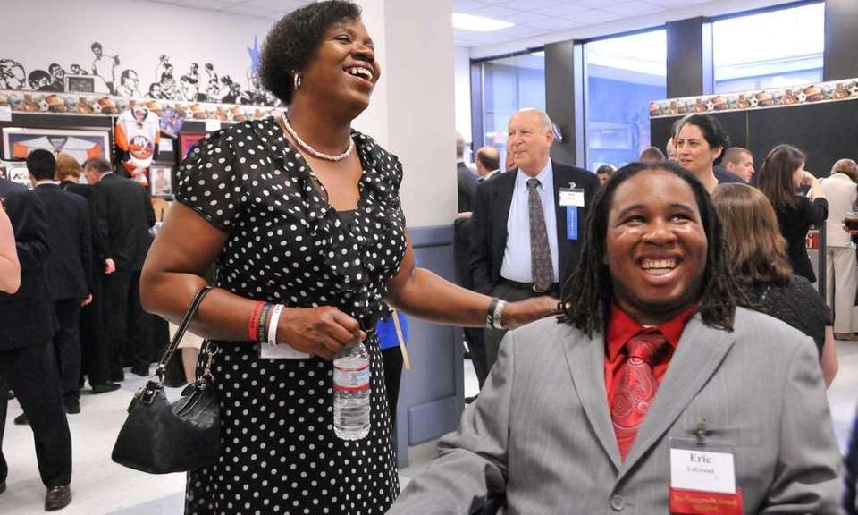 Eric LeGrand, right, a former Rutgers defensive lineman,