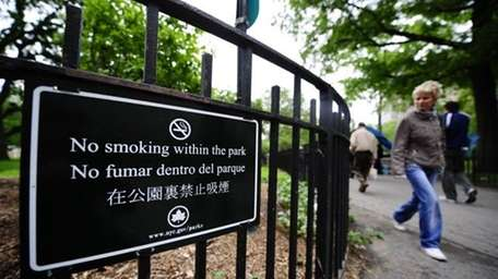 A file photo of a no-smoking sign at