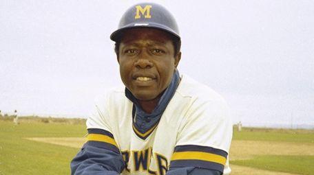 Milwaukee Brewers' outfielder Hank Aaron is seen in