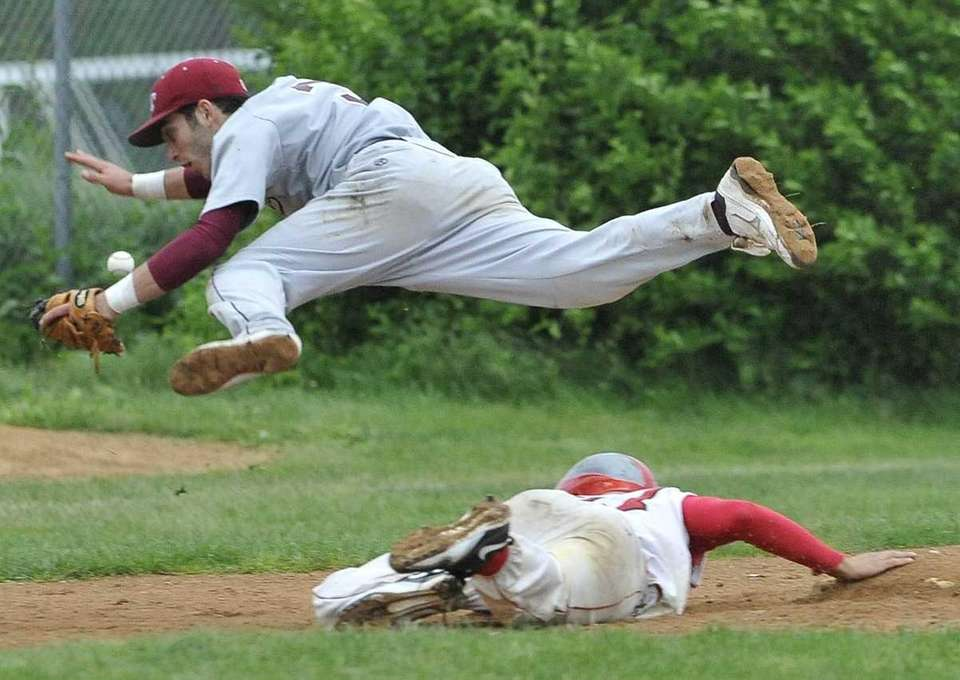 Garden City third baseman Frank Cordio leaps over