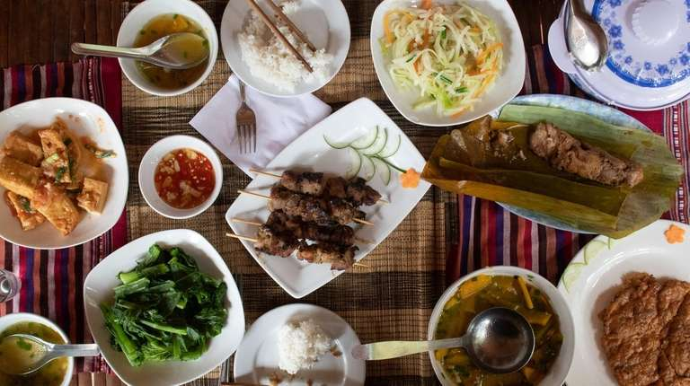 A lunch at homestay lodging includes grilled pork